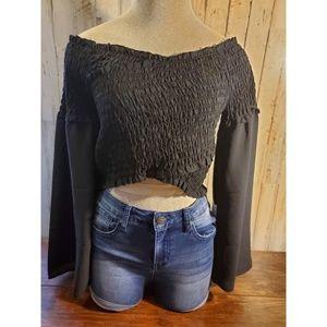 Womens black long sleeve crop top